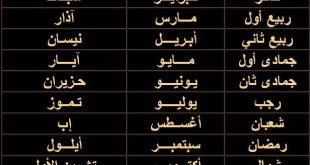 الاشهر العربية والميلادية