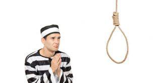 صورة حكم قاضي على مجرم بالاعدام فعلق على عنقه لوحه مكتوب عليها الافراج عنه مستحيل