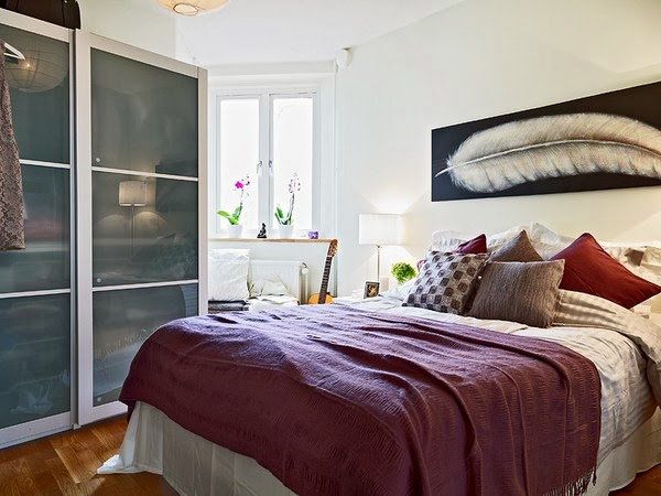 صور فكرة للغرف النوم الضيقة