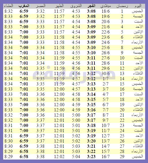 صور امساكية رمضان 1437