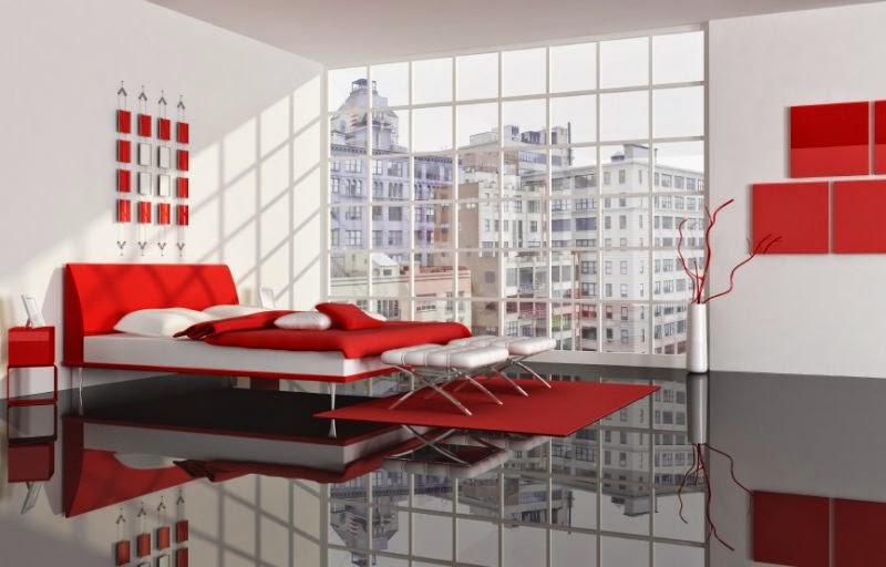 صور غرف نوم باللون الاحمر